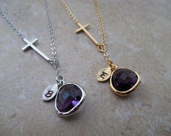 Silver or Gold February Amethyst Lariat Necklace with Hand Stamped Personalized Initial Leaf, Cross, Jewel - Available in all birthstones