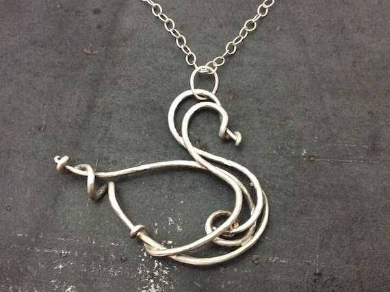 Forged sterling silver swan pendant on an 18 inch sterling silver chain, handforged in Michigan
