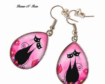 Drop earrings * love cats * silver tone pink glass cabochon