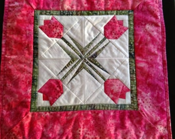 Quilted Spring Pink Tulips Table Topper