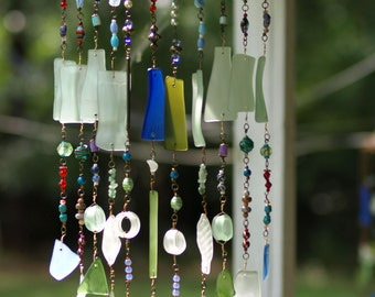 Bohemian sea glass sun catcher wind chime star gypsy upcyle driftwood