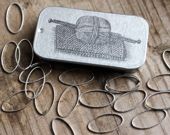 20 Solid Oval Ring Knitting Stitch Markers with Tin, Knit Stitch Markers, No Snag Stitch Markers, Oval Stitch Markers, Gift for Knitter