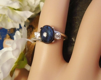 Sale Dark Navy Blue 6 Ray Star Sapphire Ring, Sterling Silver, 1.95 Cts 9.5 x 7.5 mm Natural Near Black Star Sapphire, Natural Gem Accents