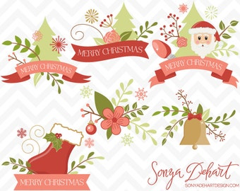 80% OFF SALE Christmas Clipart Floral Flower Banners Santa Stocking Bell Christmas Tree