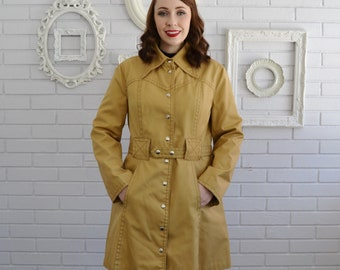 Vintage Yellow Khaki Denim-Like Coat with Western-Style Stitching by Curly Top Size Small or Medium