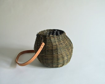 Green twisted fome wicker basket purse