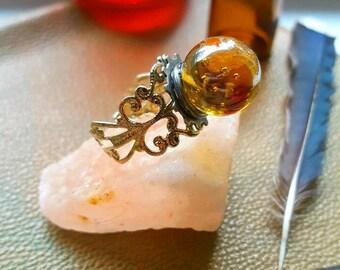 Fortune teller amber crystal ball ring