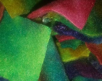 Fleece animal bedding squares/ foraging & nesting material/ snuggle strips for rabbits, mice, guinea pigs, ferret, sugar glider AND wash bag