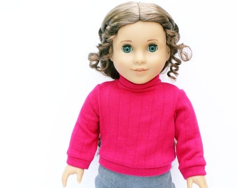 Fits like American Girl Doll Clothes - The Arrow Jewel Tone Collection, Cuffed Sweater in Fuchsia | 18 Inch Doll Clothes