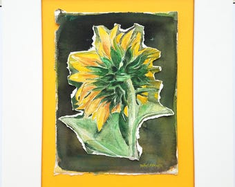 Original Sunflower Watercolor, 16x20. Professionally Matted Ready to Frame