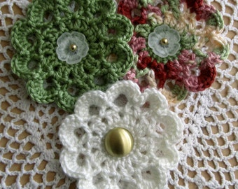 Crochet Flower Applique with Buttons
