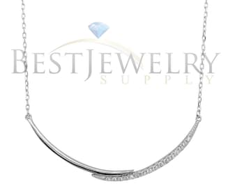 Sterling Silver .925 Rhodium Plated Double Curve Necklace with CZ