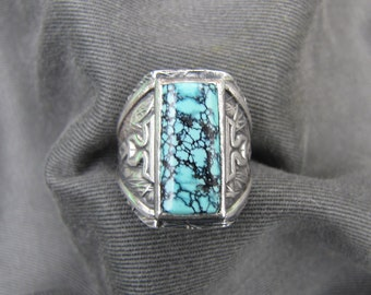 Sterling silver and variscite turquoise ring