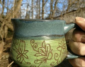 13 oz. Unique Coffee mug, hand carved.