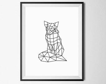 Geometric Fox, Modern Animal Art, Geometric Fox Print, Fox Printable, Fox Wall Art, Fox Nursery Decor, Geometric Animals, Fox Print, Fox Art