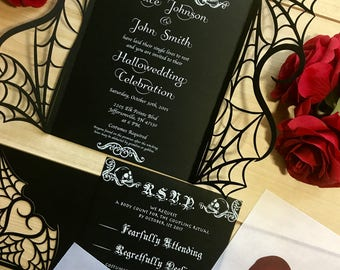 Laser cut invitations by ShimmeringCeremony on Etsy