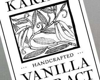 Vanilla Extract Labels or Vanilla Tags, Homemade, Personalized, Set of 18