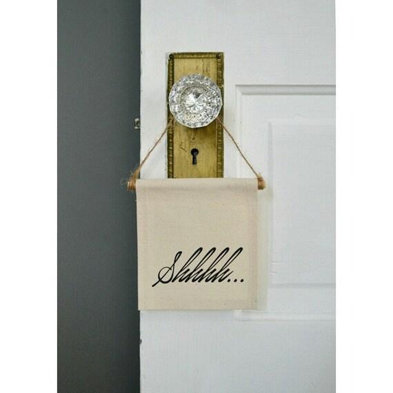 """Handmade """"Shhhh"""" Mini Banner - Quiet Doorhang - Quiet Wall Hanging - Nursery Decor - Mini Banner"""