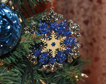 Laser Cut Wood Christmas Snowflake Ornament - Sapphire, Silver, and Wood Holiday Decoration