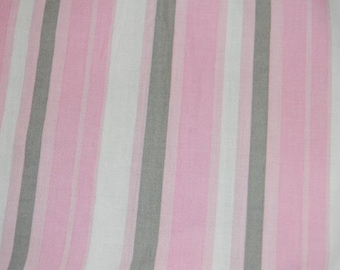 Pink, White, and Gray Stripped Crib/Toddler Bed Fitted Sheet
