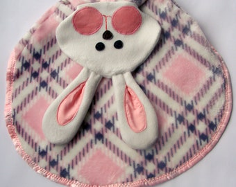 Replica Fisher Price Bunny pink  plaid Lovey Security Blanket Puppet