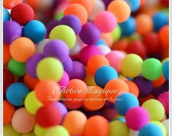 10 glass beads round 6 mm neon Mix