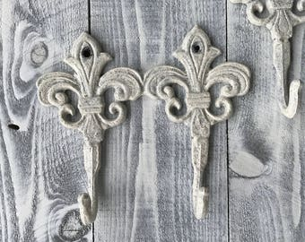 Fleur De Lis Cast Iron Double Hooks Hand Painted Shabby Chic Heirloom White, Wall Mount Rack, Towel Rack, Item #535035502