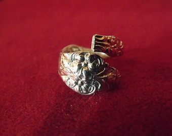 Spoon Ring Silver  Size  6  US Antique  Womens Gift  Handmade
