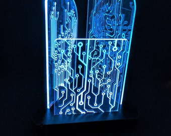 Circuit board, night light, computer geekery, geek gift, Sci-Fi, wooden lamp, desk lamp, nerd gift, Circuit board art