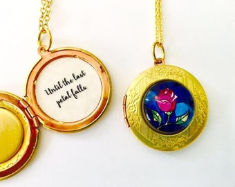 Beauty and the Beast Locket, Unti the last petal falls, Belle Rose Necklace, Rose Locket, Brass locket, Gift for her