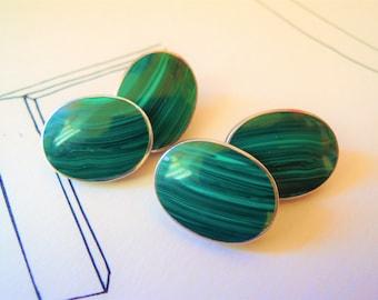 Natural Malachite and Sterling Silver Cufflinks Gemstone Cuff Links