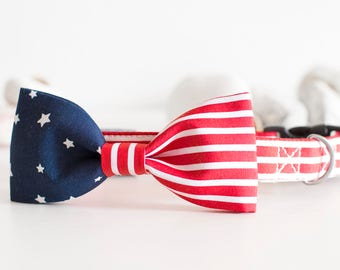 4th of July – Independence Day / USA flag Dog Collar with Bow Tie