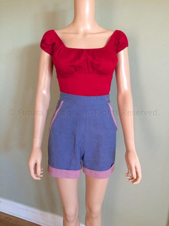 1950s Summer Fun RW Mfg Co Sanforized High Waist Blue Cotton Shorts with Contrast Cuffs Hidden Zipper and Pockets-XS