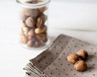Polka dot linen tablecloths - grey linen tablecloth - thanksgiving table decor - dotted table cloths - housewarming gift - custom tablecloth