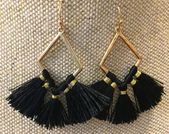 fan tassel earrings, black tassel earrings, black earrings, black fun fringe earrings, dangle and drop earrings, earrings, jewelry