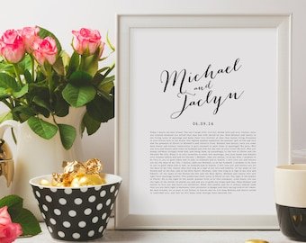 PRINTABLE Valentine's Day Wedding Vows Keepsake Print for Newlyweds & Anniversaries - Calligraphy