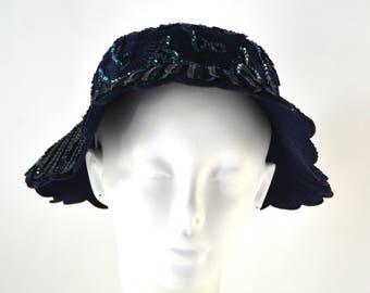 Vintage Dark Blue Felted Wool Sequin Scalloped Bucket Hat by Glenover, Henry Pollak