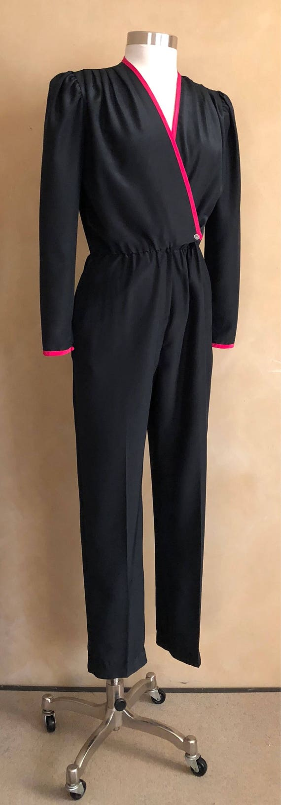 Vintage Jumpsuit 70's Black with Pink Trim