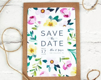Save the Date Card, Save the Date invite, Floral Save the Date Wedding invites, flower save the date