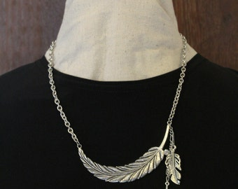 Silver Toned Curved Feather Necklace