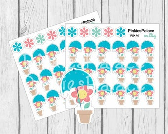 Flower with Umbrella Planner Stickers Spring Stickers and Planner Die Cut PS476