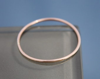 Rose Gold Ring Thin 14k  SOLID Stacking Band Spacer Smooth Shiny Finish Eco-Friendly Recycled Gold