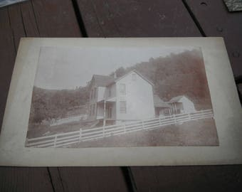 Antique Mounted Photo - Old Country Home on the Hill