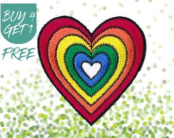 Gay Patch Heart Patches Iron On Patch Embroidered Patch Rainbow LGBT