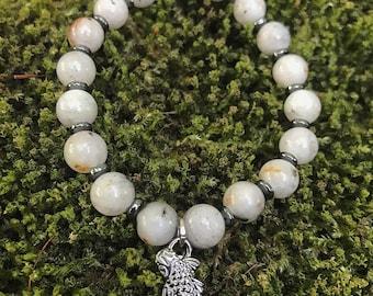 Sesame Jasper bracelet with Hematite discs and gunmetal Koi charm