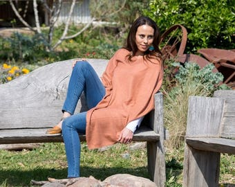 Cashmere + Wool Poncho | Free Size Cashmere Poncho - TANGERINE