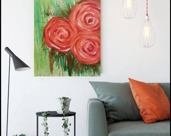 """Genesis acrylic painting on 24x18"""" stretched canvas, orange abstract roses, abstract art, original art,  wall decor, home decor, affordable"""