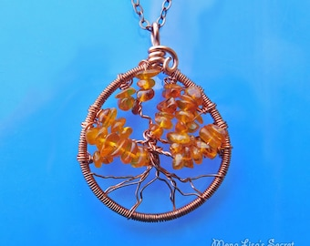 Amber Tree of Life Necklace, Copper Wire Tree Pendant Necklace, Wire Wrapped Tree of Life, Baltic Amber Circle Tree of Life Pendant