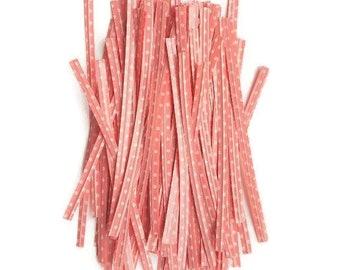 Twist ties pink polka dot wire ties for packaging cake pops crafts metal twist tie flexible wrap sweet bags gift tags