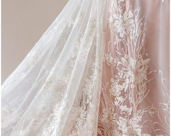 Floral Sequin Lace, wedding lace fabric, bridal flower lace, Couture Lace, Alencon Lace fabric, wedding dress lace, Sequin Lace -(L17-008)